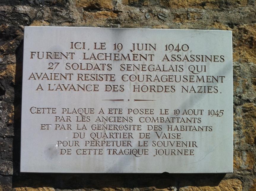 Plaque pour les soldats africains morts pour la France...
