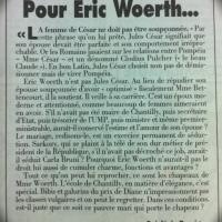 """Jules César, Eric Woert: """"La femme de César ne doit pas être soupçonnée""""."""