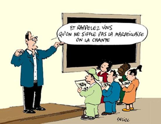 Écouter la 'Marseillaise à fond' à la télé: est-ce une nuisancesonore?