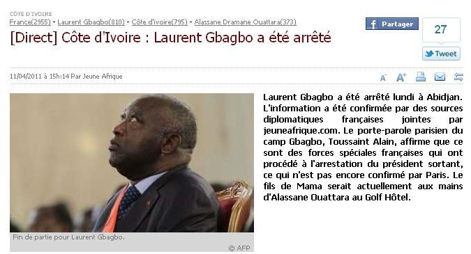 Gbagbo Laurent arrêté.. Fin de partie#civ2010