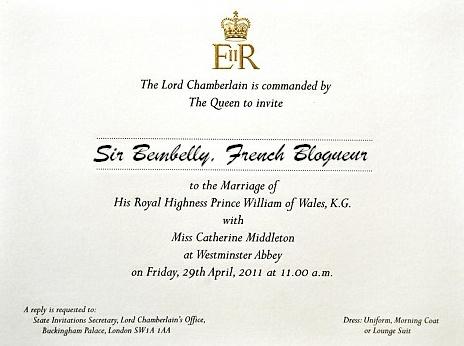 1 Blogueur Français invité au Mariage de Kate et William…