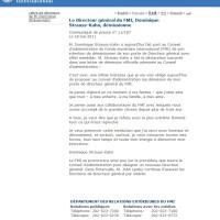 [Màj] DSK: Lettre(s) de démission du FMI, Première(s) déclaration(s)...