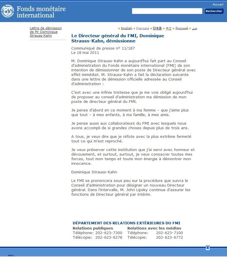 [Màj] DSK: Lettre(s) de démission du FMI, Première(s) déclaration(s)…