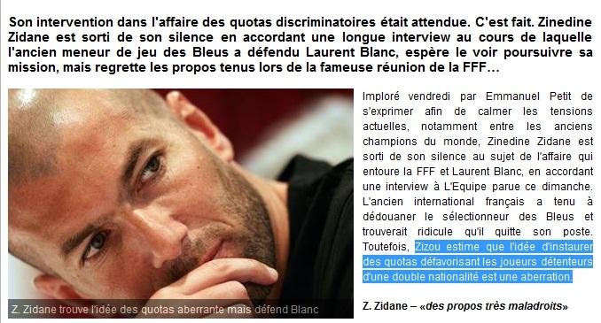 Zidane: '' l'idée de sélectionner voire discriminer des gamins en fonction de ce statut binational est pour moiaberrante''