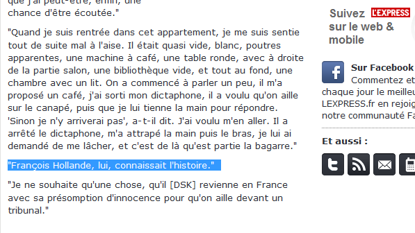Plainte: Après DSK, François Hollande? Bahnon…
