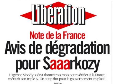 Saaarkozy: A La UNE de Libération, un collector…