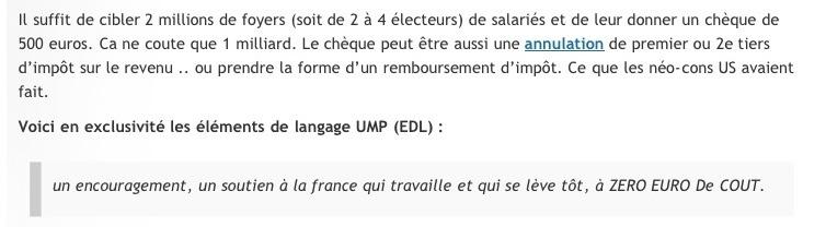 Sarkozy: une ''prime'' aux  électeurs dès Janvier2012?