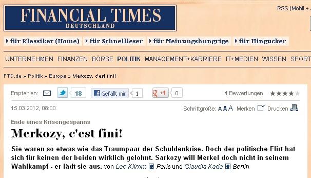 Angela Merkel lache Nicolas Sarkozy > »Merkozy c'est fini»…