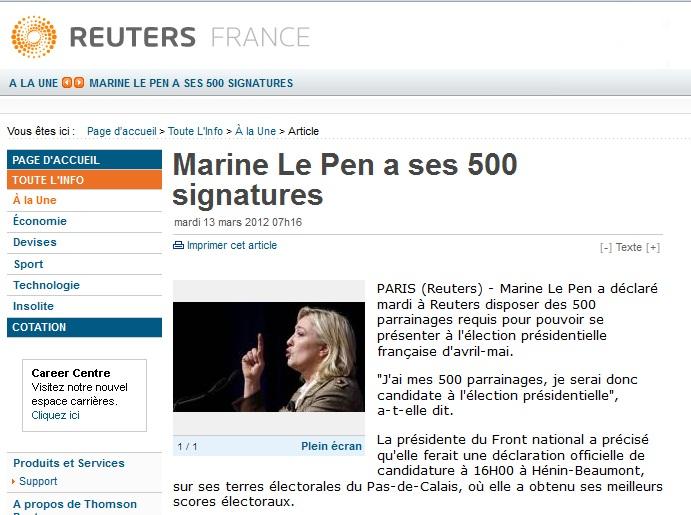 500 signatures pour Marine Le Pen > Qu'en penseSarko?