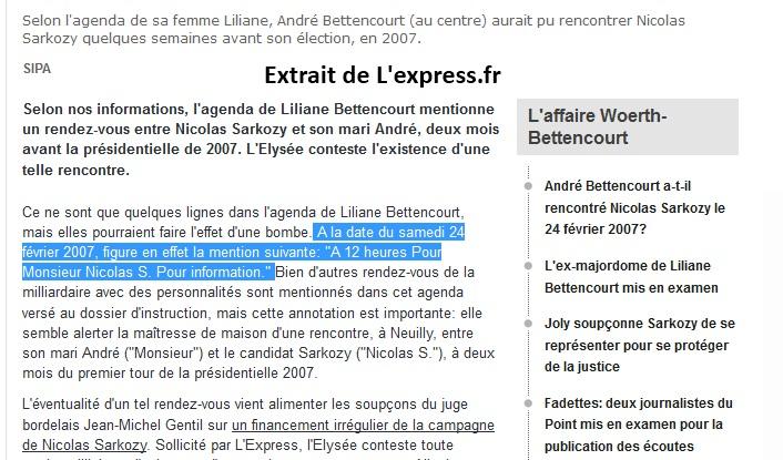 Sarkozy chez les Bettencourt> L'agenda de Liliane révèleque…