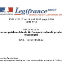 François Hollande > Et voici la déclaration de patrimoine...