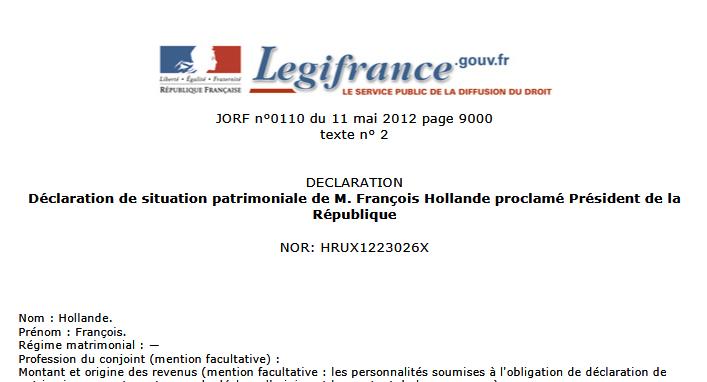 François Hollande > Et voici la déclaration de patrimoine…
