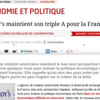 TripleA: Moody's garde sa confiance à F. Hollande...