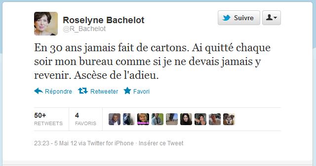 Roselyne Bachelot fait déjà ses adieux etcartons…