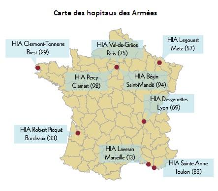 Cartes des hopitaux des armées