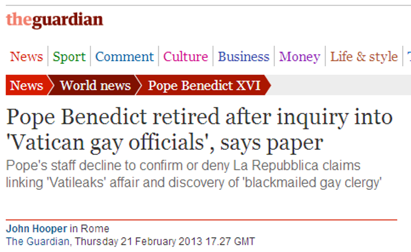 Demission du Pape Mariage Gay vatican