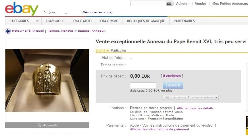 Annonce Vente Anneau papal