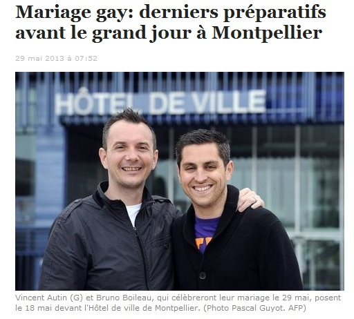 1er Mariage Gay homosexuel France