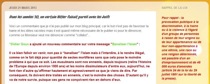 Didier Goux l'Islam