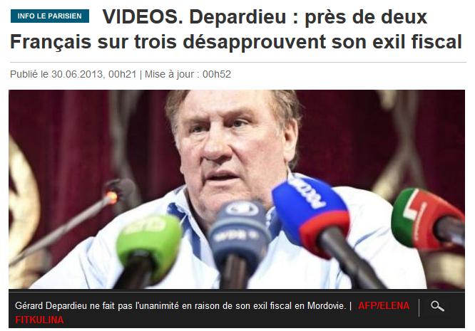 Depardieu  les français désapprouvent