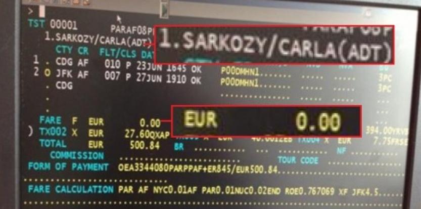 Billet d'avion de Carla Bruni Sarkozy