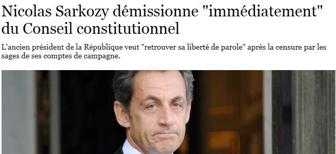 Sarkozy démissionne