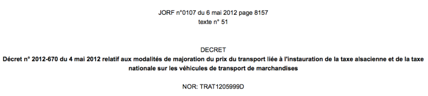 Decret 06 Mai 2012 Application de l'écotaxe