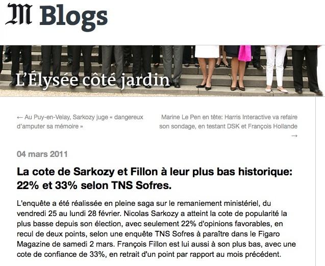Sondage Sarkozy Impopularité record