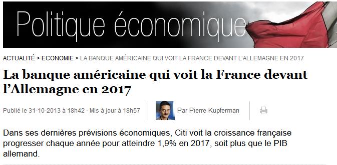 La France mieux que l'Allemagne en 2017
