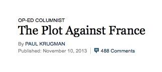 Un complot contre la France? l'économiste P. Krugman récidive…