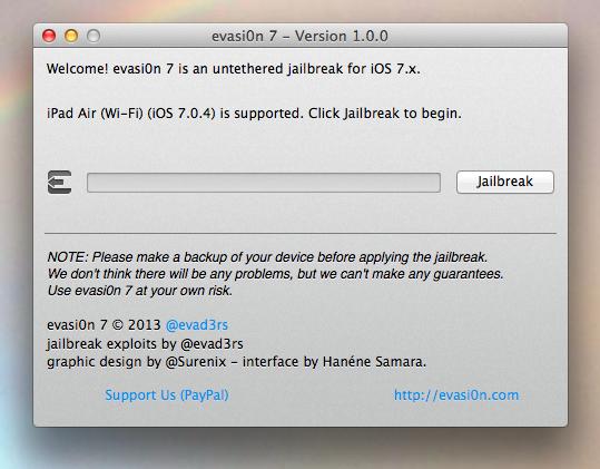 Jailbreak iOS7 iPad Air