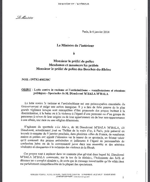 Circulaire anti-Dieudonné Valls Prefets
