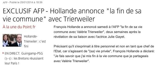 Hollande annonce sa séparation avec