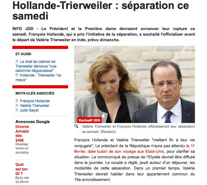 Hollande Trierweiler Séparation