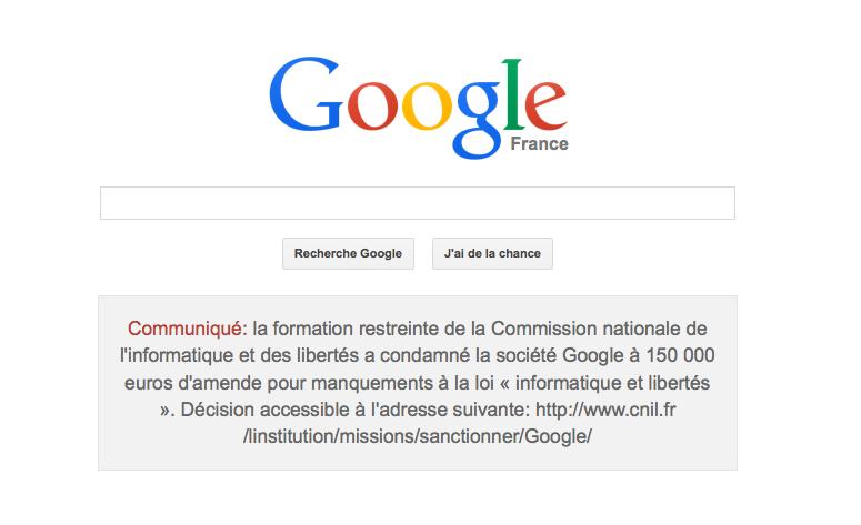 Affichage de la condammmnation de Google...