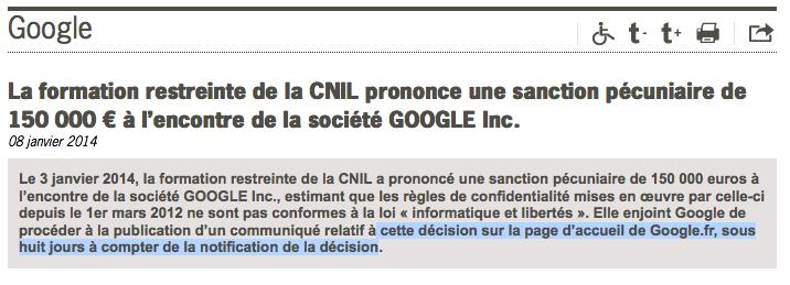 Décision de la cnil Google