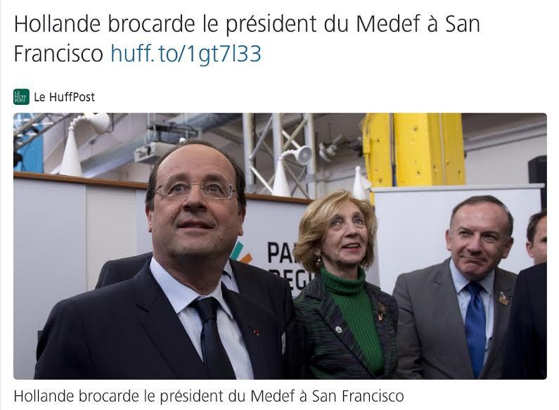 F Hollande Gattaz San Francisco USA