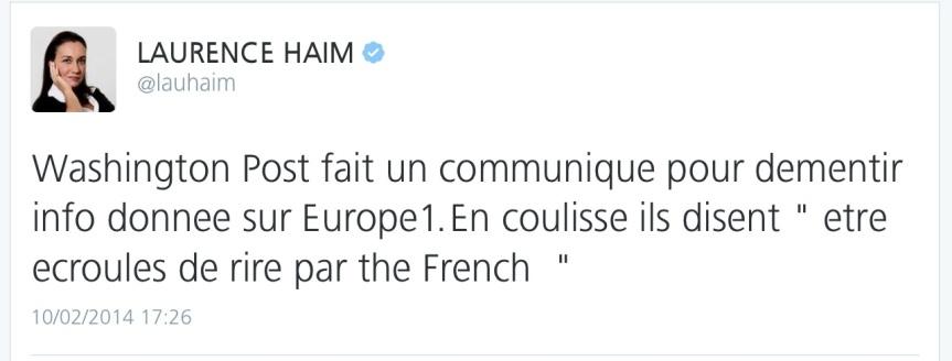 Tweet de Laurence Haim