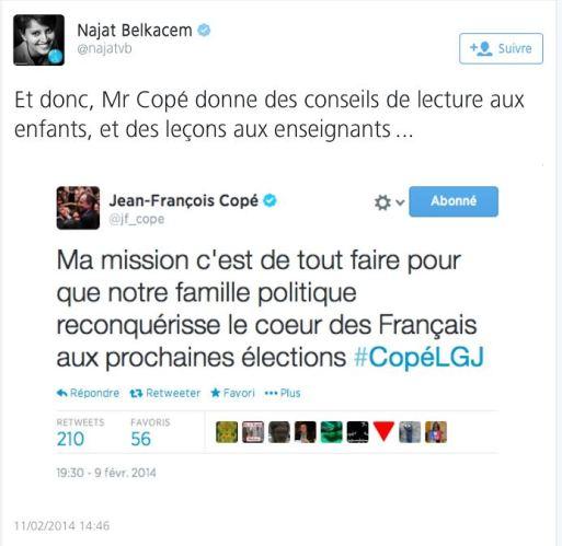Tweet de Najat Vallaud-belkacem JF Copé