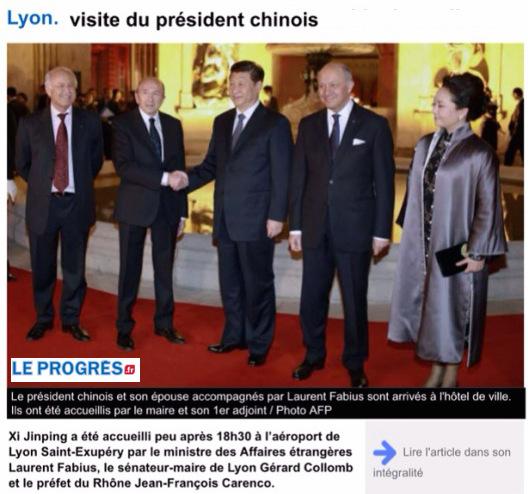 Président chinois à Lyon, Collomb, Fabius, Touraine
