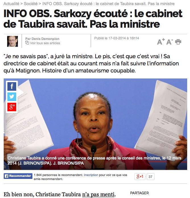 Christiane Taubira Ecoutes Sarkozy
