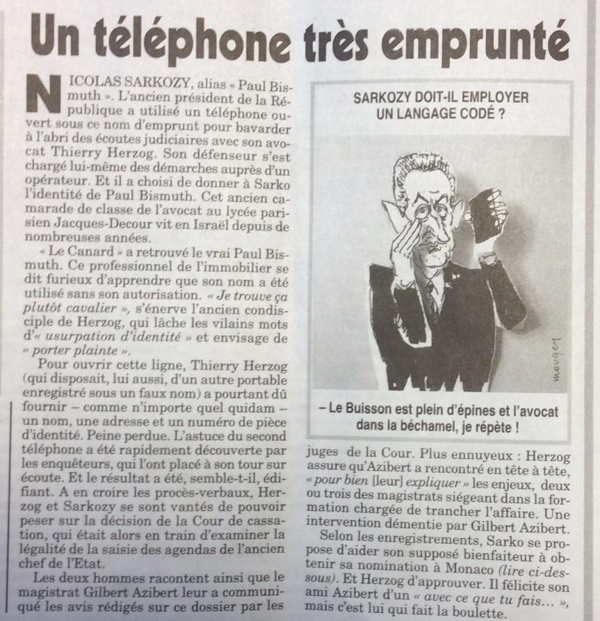 Sarkozy révélations du Canard Enchainé