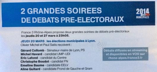 Débat municipale Lyon 2014, les candidats et résultats