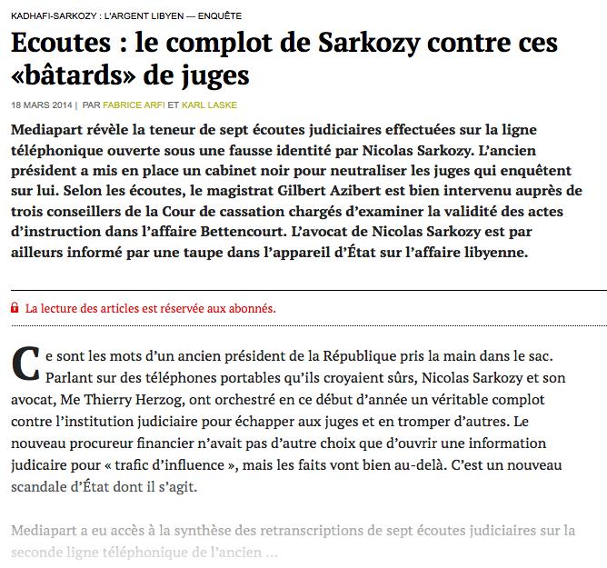 Sarkozy Médipart Scandale bâtards juge