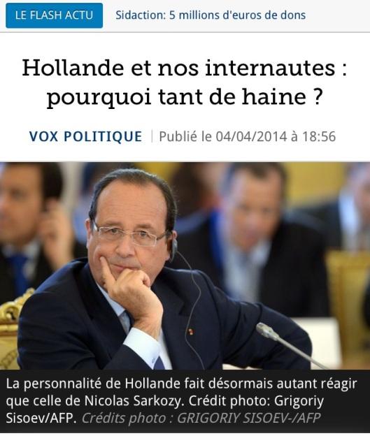 F. Hollande, pourquoi tant de haine? le Figaro s'inquiète, presque...