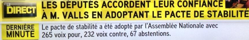 Pacte de responsabilité Valls adopté 1