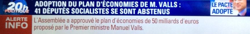 Pacte de responsabilité Valls adopté 2