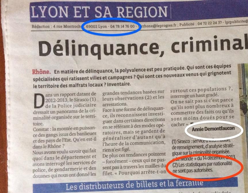 Le progrès de Lyon FN Délinquance nationalités