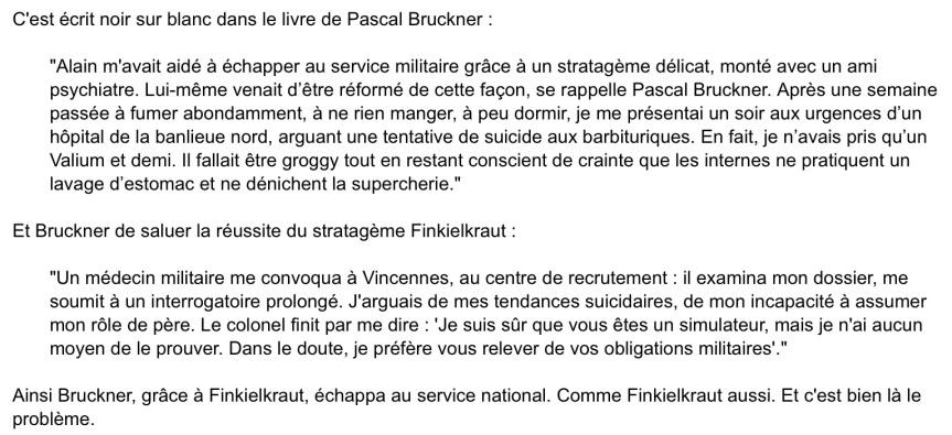 La désertion d'alain Finkelkrault