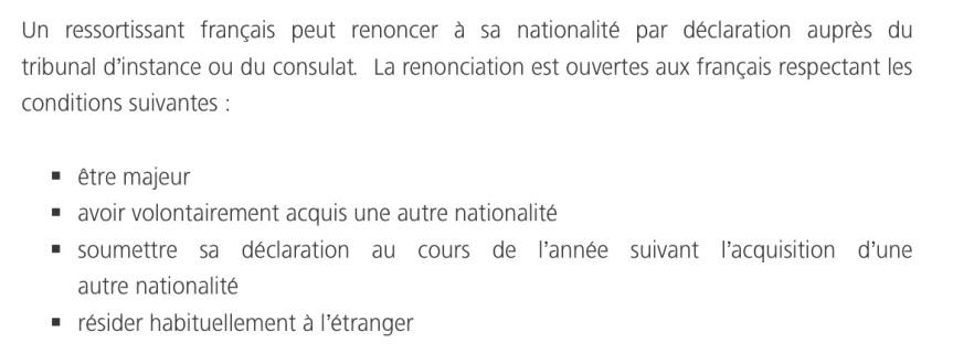 Renoncer à la nationalité française